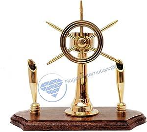 Nagina International Handcrafted Premium Office Decor Pen Holders with Nautical Helmet | Ship Wheel | Navigational Compass | Home DecorativePirate's Gift (Solid Brass Ship Wheel)