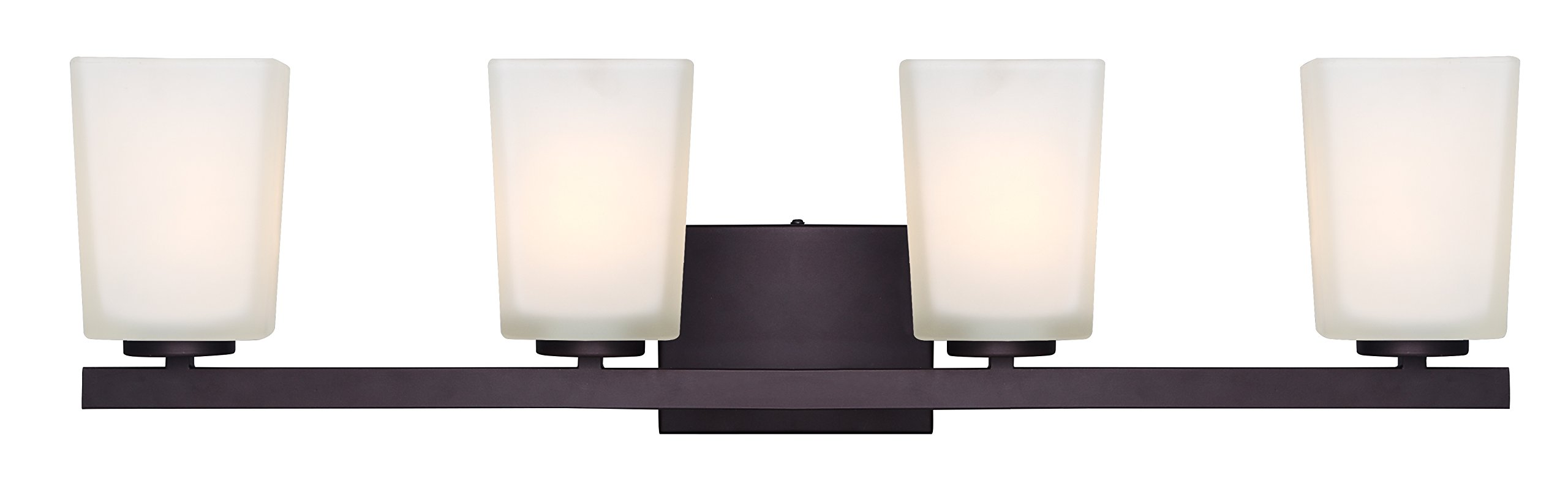 Canarm IVL472A04ORB Ltd Hartley 4 Light Vanity, Oil Rubbed Bronze with Flat Opal Glass