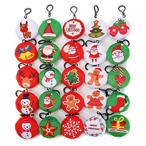 (KINGSO Mini Emoji Plush Pillow Emoticon Keychain Decoration Kids Party Supplies Favors (Christmas Emoji) )