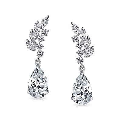 926108bc1 Amazon.com: Prom Bridal Leaf Teardrop Pear Shaped Drop Cubic Zirconia  Clusters Holiday Dangle Earrings Silver Plated Brass 1.3 Inch: Dangle  Earrings: ...