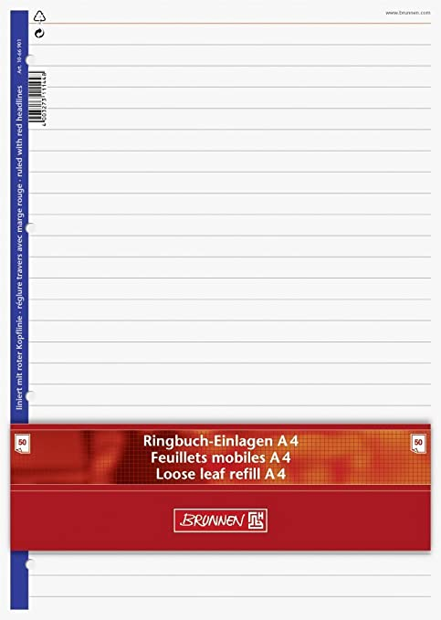 Ringbuch Einlagenpapierbrunnen 100 Blatt Liniert Mit Roter