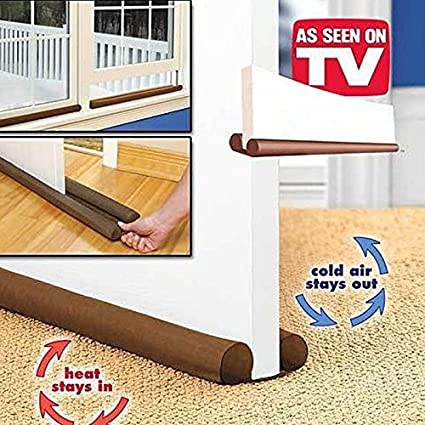 Brown Twin Door Draft Stopper Dual Draught Excluder Air Insulator Windows Dodger Guard Energy Saving JosephmJohnsonne