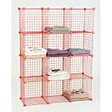 Case of 4 Retail Red Mini Grid 12 Shelf unit 44''W x 14''D x 56''H
