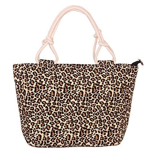 Fortuning's JDS® Toile élégantes rayures rouges sac à main imprimé sac de dame de bureau imprimé léopard