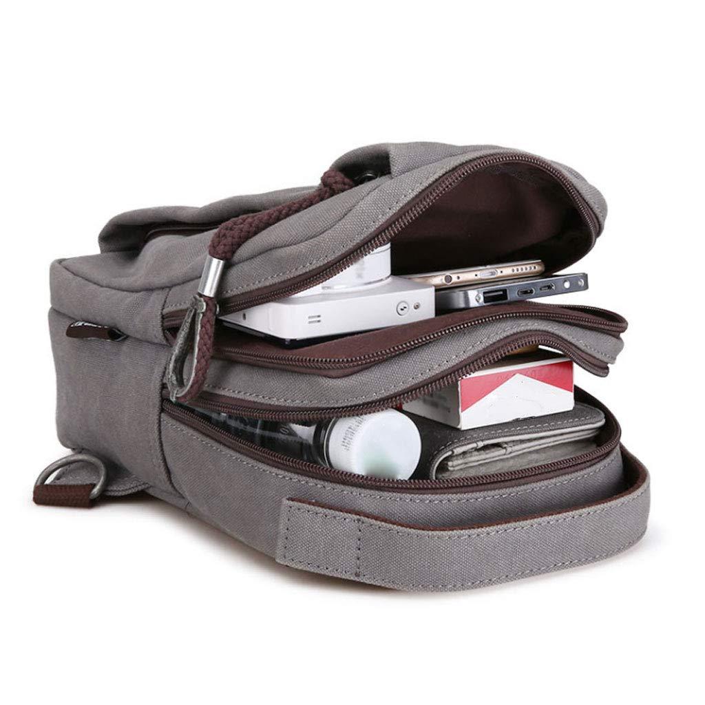 Color : Gray, Size : Upgrade Style QARYYQ Chest Bag Mens Canvas Shoulder Bag Messenger Bag Fashion Small Backpack Sports and Leisure Pockets Shoulder Messenger Bag