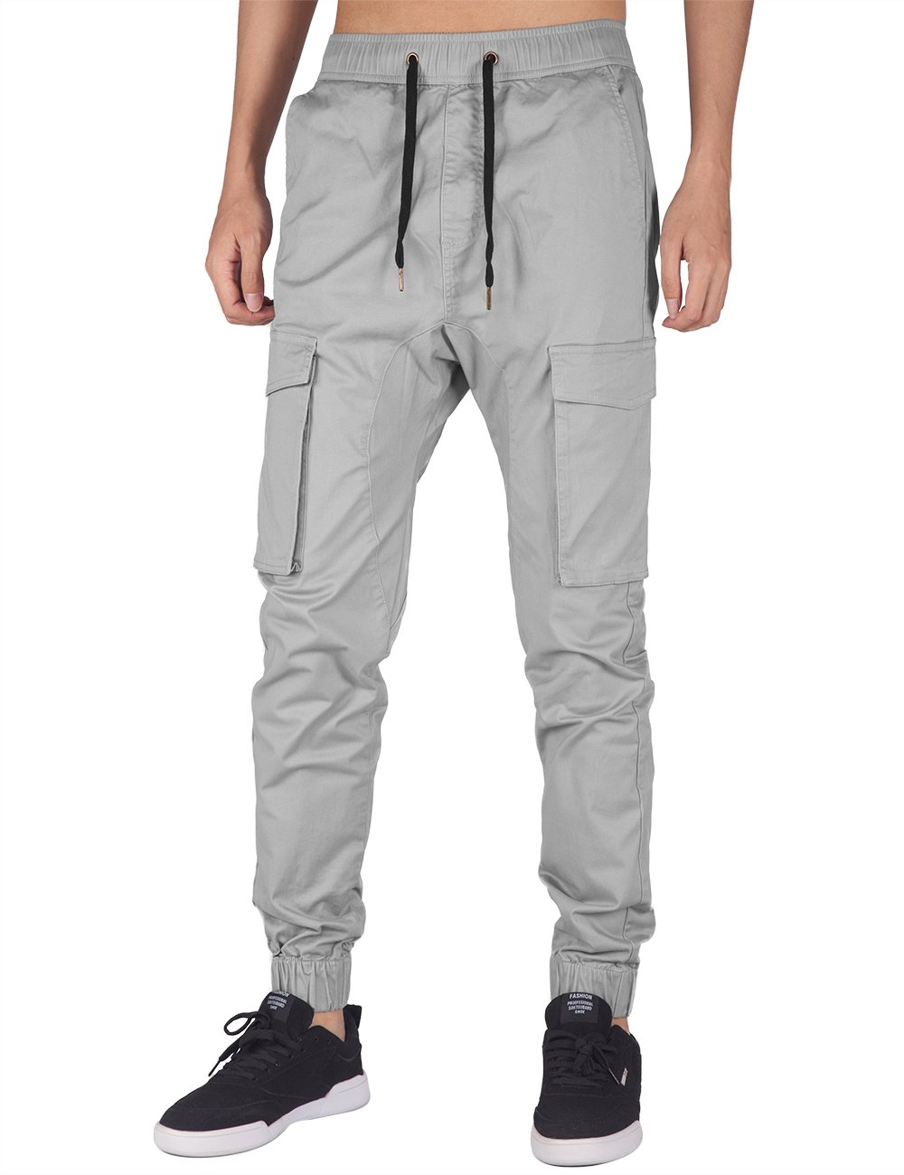 ITALY MORN Men's Jogger Cargo Pants Elastic Waist (Light Grey, S)