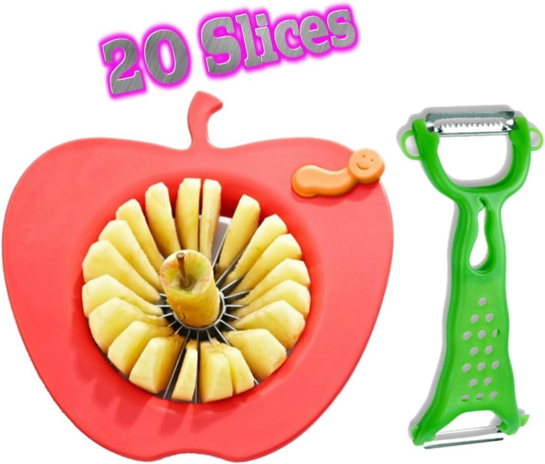 B01G92DWM0 Corer Slicer Peeler and Divider Set Cuts 20 Thin Apple Slices for Kids Onion Slicer for Vegetables Tomato Potato Slicer with Bonus Julienne Peeler Slicer Zester Kitchen Gadgets 61NgQnyszUL