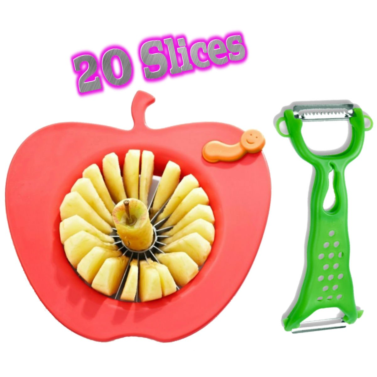 Corer Slicer Peeler and Divider Set Cuts 20 Thin Apple Slices for Kids  Onion Slicer for Vegetables Tomato Potato Slicer with Bonus Julienne Peeler