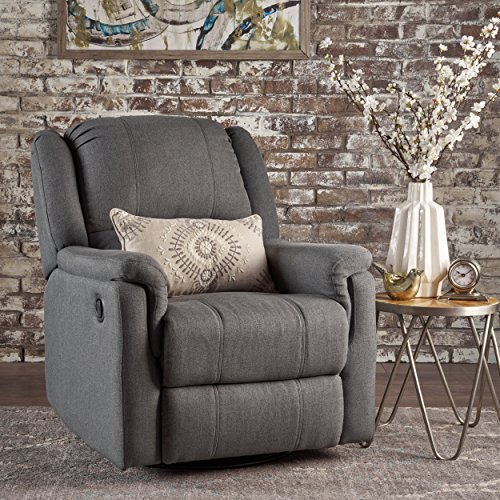 - Christopher Knight Home 302057 Jemma Swivel Gliding Recliner Chair, Charcoal