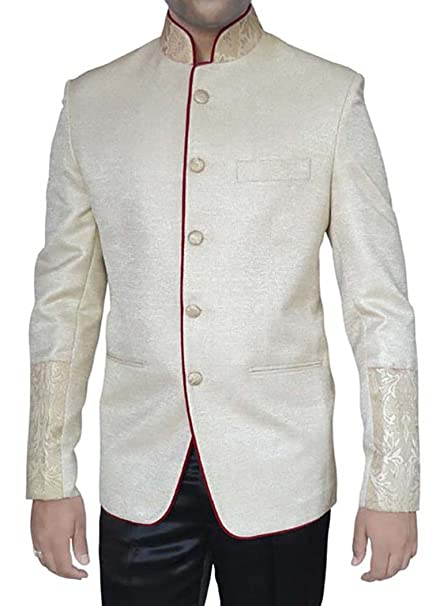 Amazon.com: INMONARCH traje de hombre crema yute 2 PC cuello ...