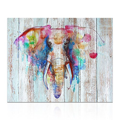 Visual Art Decor Retro Animals Watercolor Elephant Painting Giclee Prints Wall Decor Dual View Picture on Wood Background Canvas Prints Wall Art Decor (16