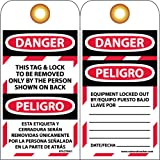 NMC SPLOTAG1 English/Spanish Lockout Tag, ''DANGER THIS TAG & LOCK TO BE REMOVED ONLY. . .'', 3'' Width x 6'' Height, Unrippable Vinyl, Black/Red on White (Pack of 10)