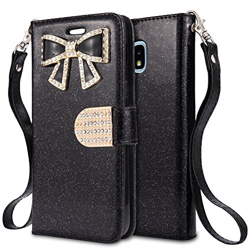 For Samsung Galaxy J3 (2018), J3 Achieve, J3 Star, Express Prime3, Amp Prime3, J3/J3V 3rd Gen SM-J337 Case,PU Leather Rhinestone Wallet Flip Phone Protective Case with Card Slots (WBL Black) by NewFrontier