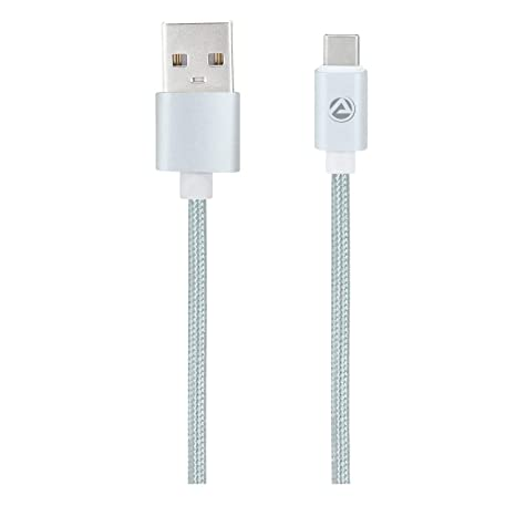 ARU ARC 33 1Mtr 2.4 Amp Breaded Type C Charge  amp; Sync Cable  Silver