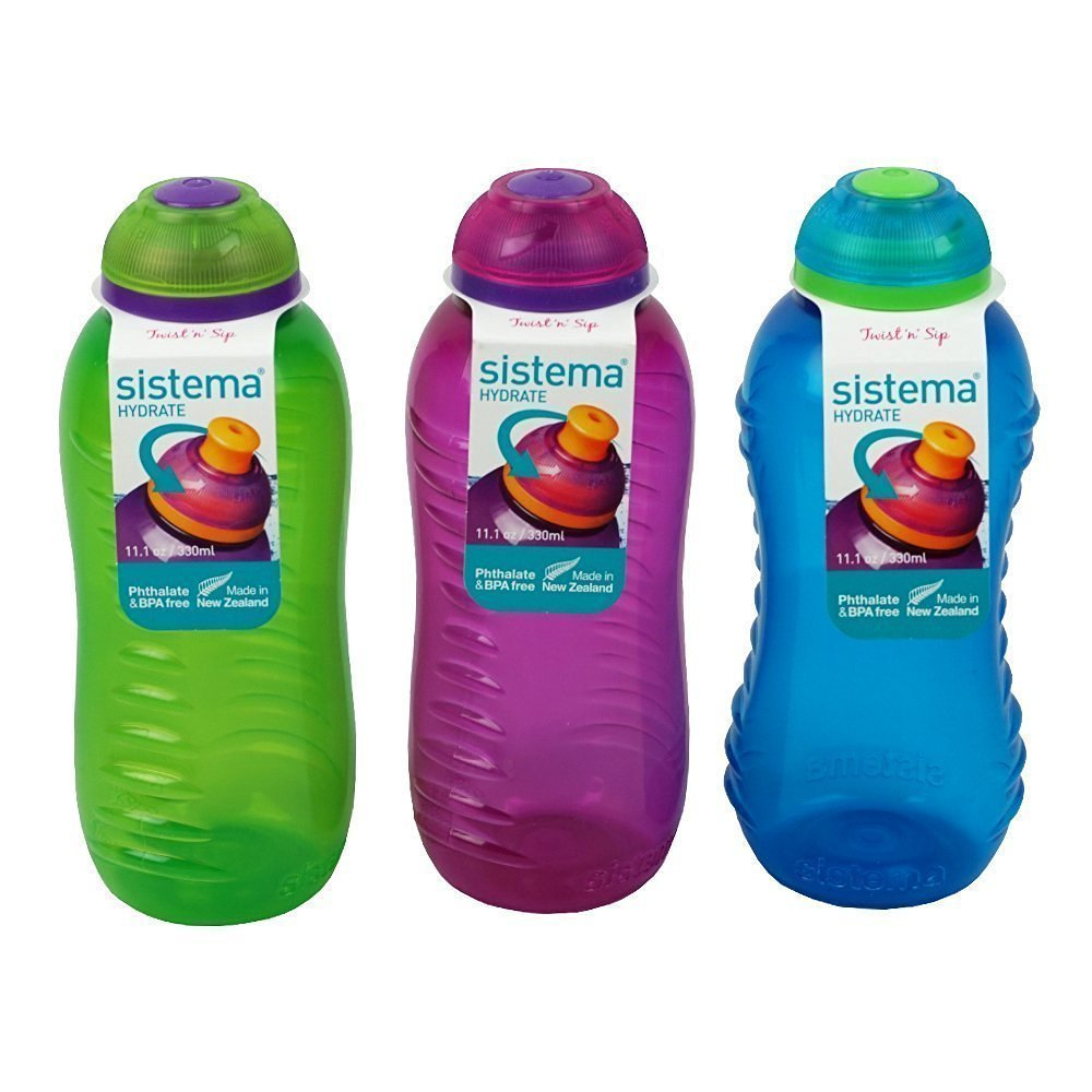 3 cantimploras Sistema de 330 ml; botellas de agua con tapa en color azul verde lima y rosa