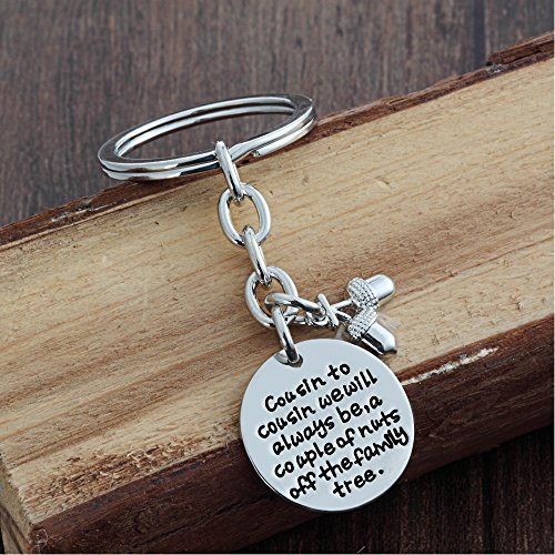 Cousin Key Chain Ring - Cousin to cousin will always be a couple of nuts off family tree - Family Gift Photo #3
