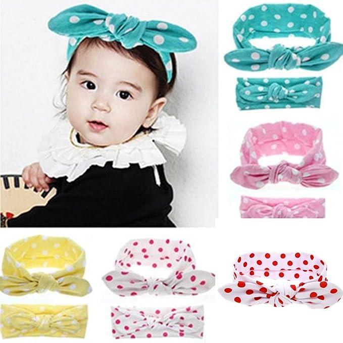Amazon Com Baby Headband Tie Bow Hairband Polka Dot Soft Head Wrap
