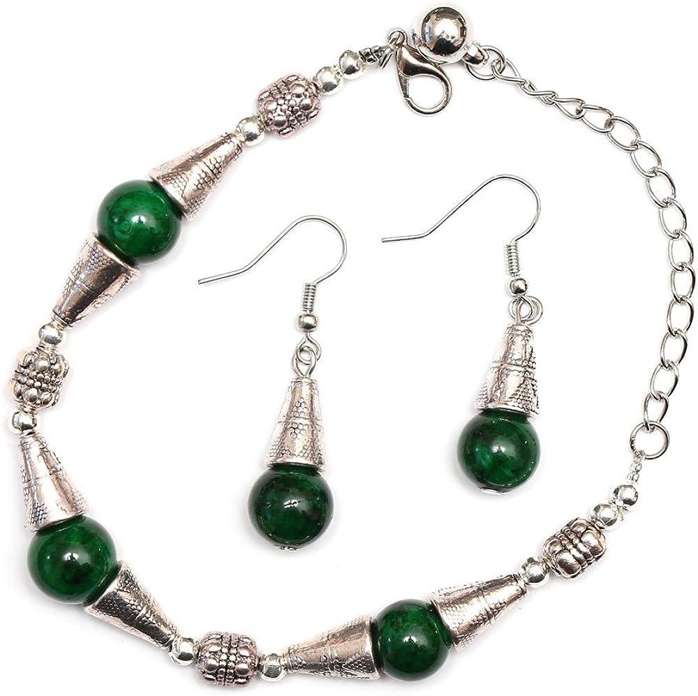 Idin Set–Verde Natural Jade de joyas pendientes & pulsera con antiguo tono de plata pulsera de cuentas de estilo tibetano (18,5cm, Pendientes 4,5cm Drop)