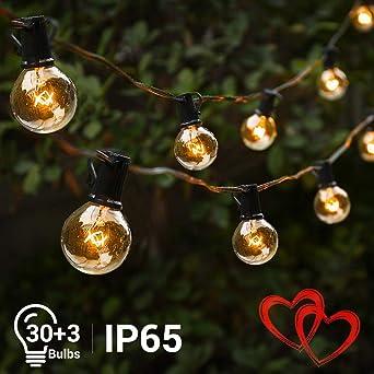 Guirnaldas Luces Elegear G40 Guirnaldas Luminosas Exterior 40FT 30+3 Bombillas Impermeable IP65 para Festivales, Bodas,Jardín, Patio,etc: Amazon.es: Iluminación