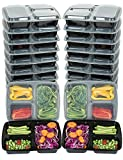 Mealcon BenT-20P Plastic Meal prep containers 3 Compartment, 20 pk, Black