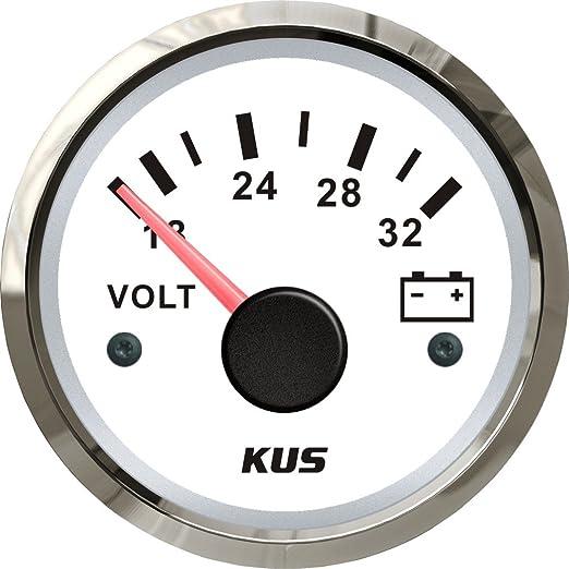 Kus Voltmeter Weiße Frontplatte 24 V 18 32 V Mit Hintergrundbeleuchtung 52 Mm Auto