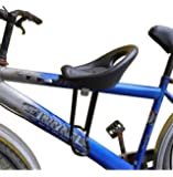 Mountain Bicycle Child Front Seat Child Baby Safe Seats with Back Rest Foot Pedals Mountain Bike Saddle Black
