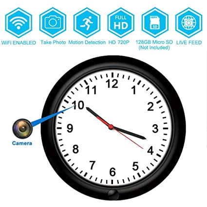 8659fccc8850 720P Wall Clock WiFi Surveillance Video Recorders Camera -BSTCAM 10inch 365  Days Long Standby Motion