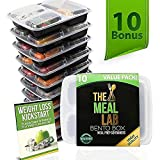 BONUS-PACK 3 Compartment Meal Prep Food Storage Containers with Lids - BPA FREE Stackable, Reusable, Microwave & Dishwasher Safe Bento Lunch Box - Divided Plates for 21 Day Fix Portion Control