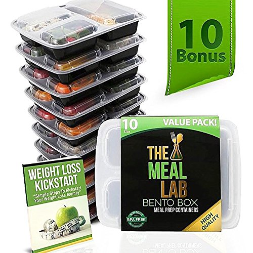 Meal Prep Containers 3 Compartment Food Storage Container with Lids | BPA FREE Stackable, Reusable,...