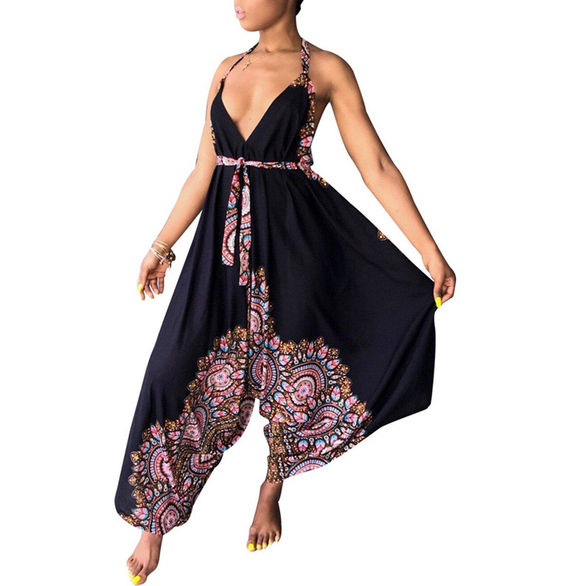 Lunaya Womens Summer African Printed Spaghetti Strap Halter V Neck Loose Fit Harem Jumpsuit Rompers Black Flower XL