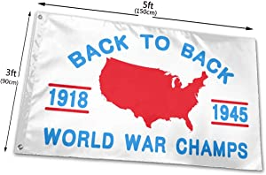 RONGANDHE Back to Back World WAR Champs Flag Banner 3x5 Feet Man Cave Party Garden House Outdoor