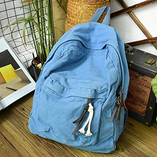 BAGEHUA 洗ったキャンバスバッグ、古いバックパックは、女性の大学生、風のバックパックには、中学校の生徒たちは、新鮮な Schoolbag B076K2ZFQ4 Cowboy blue Cowboy blue