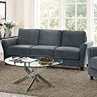 Pearington Coffeen Microfiber Living Room Sofa, Dark Grey