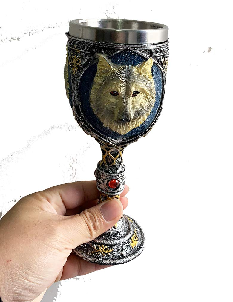 Game of Thrones Collections Resin Craft 7oz Wine Chalice Stainless Steel Wolf Wine Goblet by GDJIMEI (Image #5)