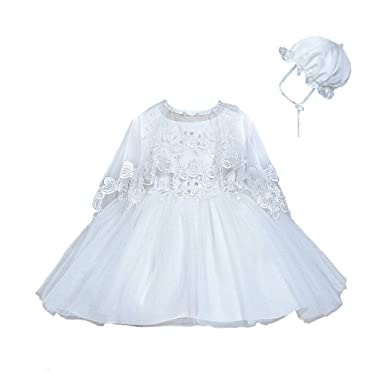 a5e2686ce Amazon.com: Romping House Newborn Baby Girls Christening Gown Baptism Dress  with Floral Lace Poncho Bonnet: Clothing