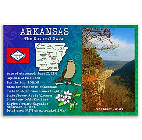 Amazon Arkansas State Facts Postcard Set Of 20 Identical