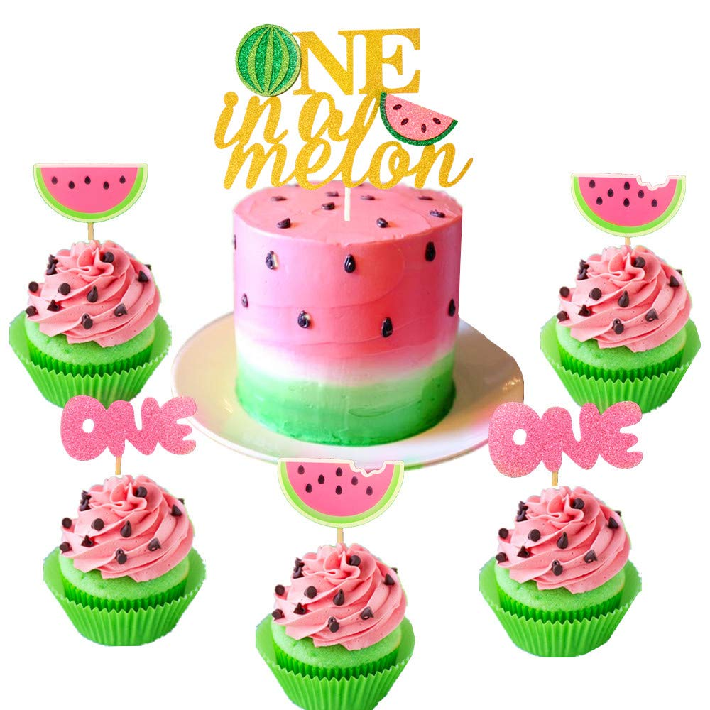 JeVenis Set of 25 Watermelon Cupcake Topper Watermelon One Cupcake Topper Baby Girl First Birthday Cupcake Topper by JeVenis (Image #1)