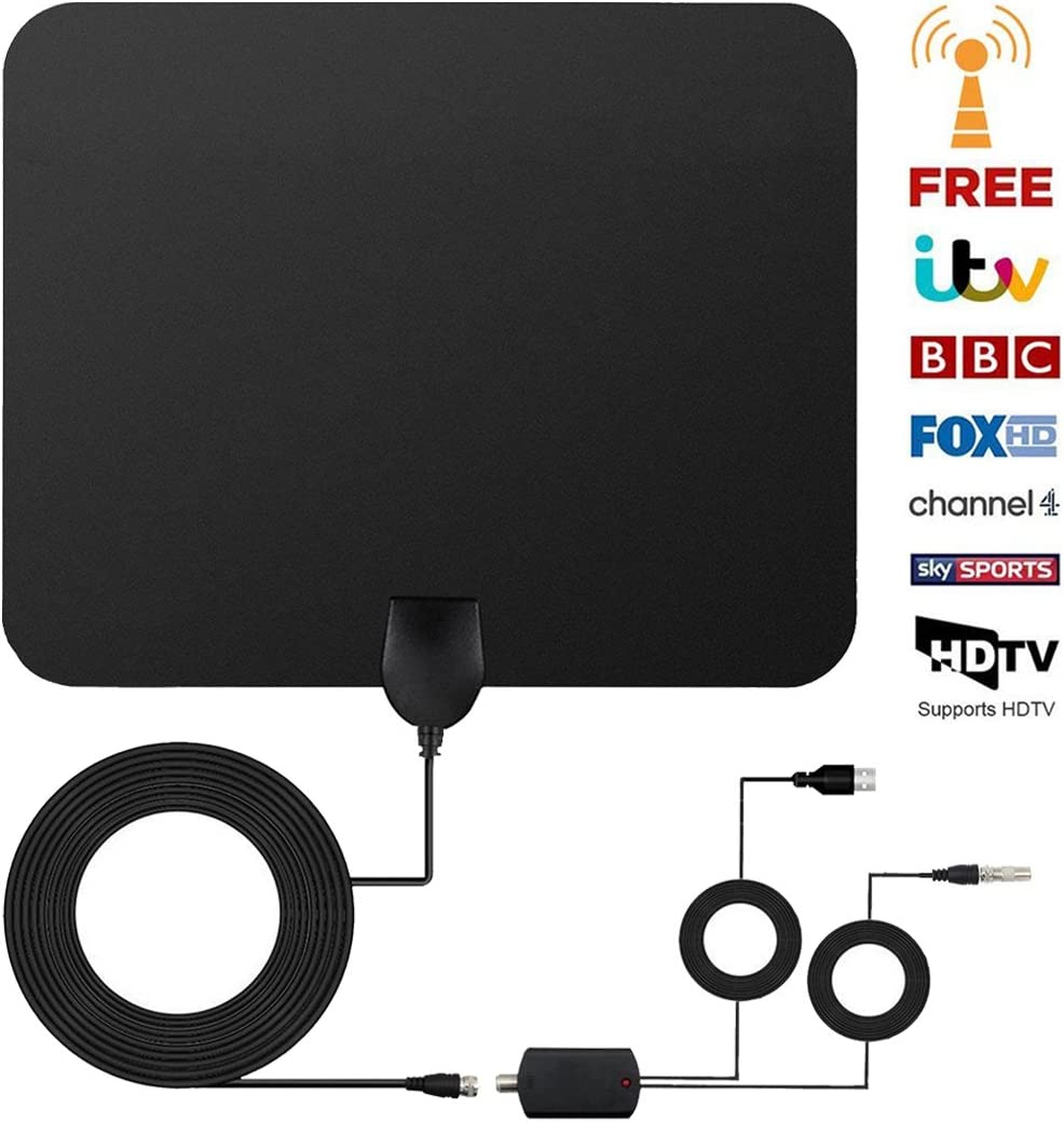Antena TV Interior, Antena de TV de Rango Amplificado de 95 km (60 Millas) Antena TDT con Amplificador de Señal y Cables de Alto Rendimiento (Negro): Amazon.es: Electrónica