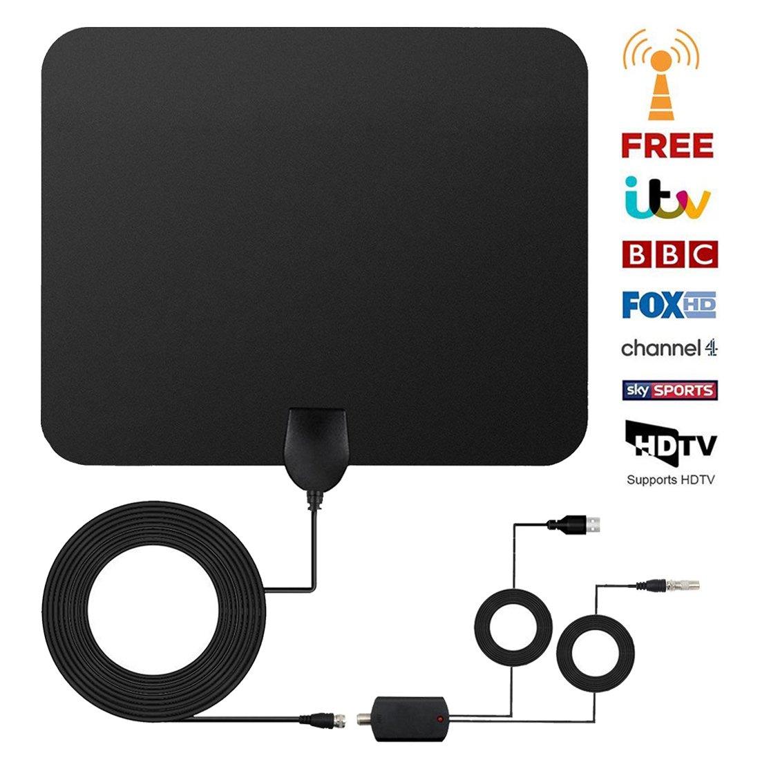 [Nueva versión 2018] Antena TV Interior, Yihongda Antena de TV de Rango Amplificado DE 95 km (60 Millas) Antena TDT con Amplificador de señal y 3M de Cables ...