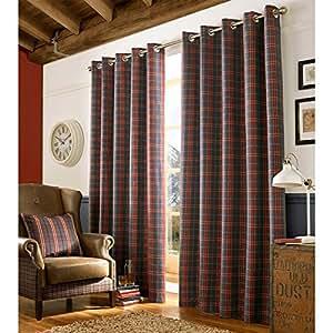 Diseño a cuadros de tartán totalmente forrado cortinas forradas con anillas - azul marino y/Rojo 90 x 72. Se envía un par (229 x 183 cm)