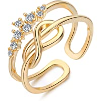 EGOO&YAMEE Infinity Knot Ring Adjustable CZ Forever Love Eternity Band Flower Rings Women