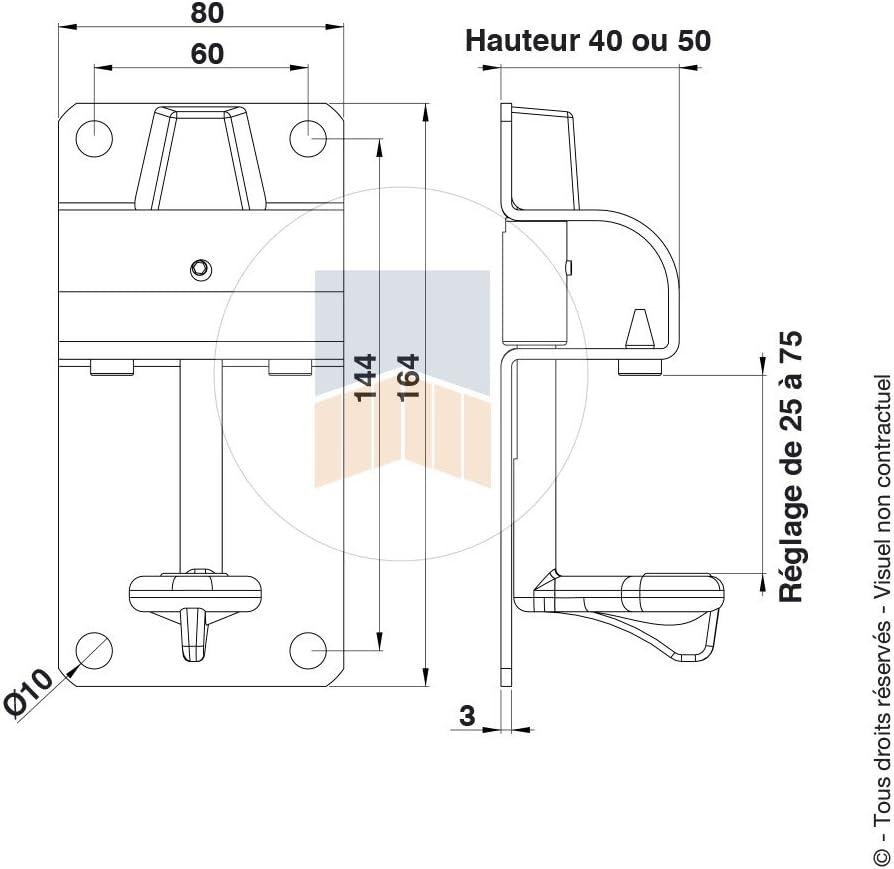 54 /à 75 50 Sabot en Inox avec basculeur Cupro-aluminium et but/ée en caoutchouc
