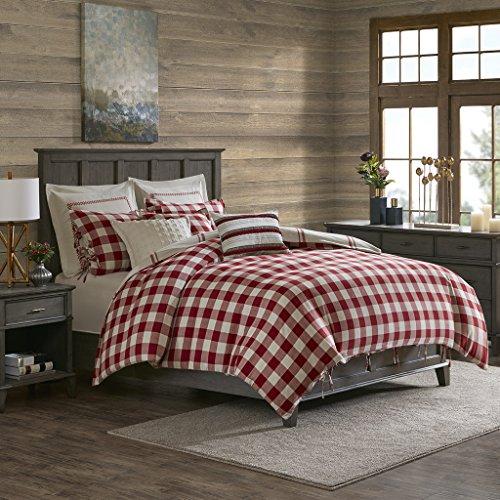 MADISON PARK SIGNATURE Willow Oak Reversible Cotton Comforter Set, King, Red