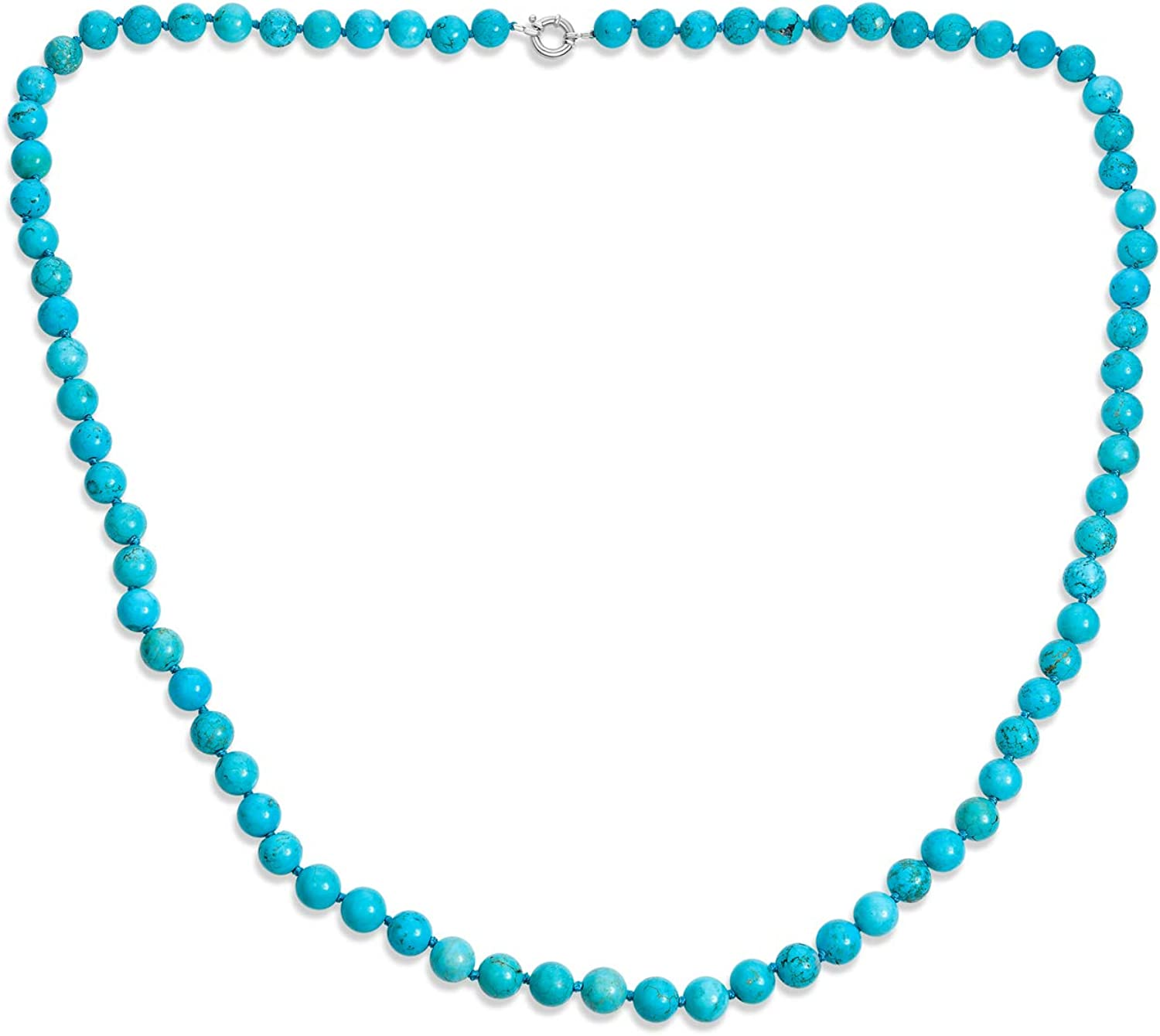 22 Cultured Pearl Turquoise Malachite Sterling Bead Necklace