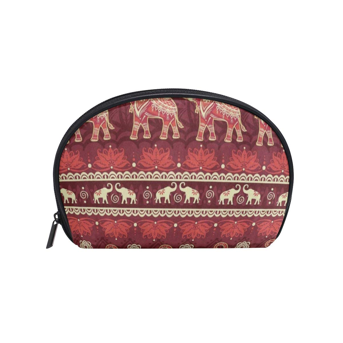 Red Elephant Animal Mandala Half Moon Cosmetic Makeup Toiletry Bag Pouch Travel Handy Shell Purse Organizer Storage Beauty Bag Holder for Women Girls