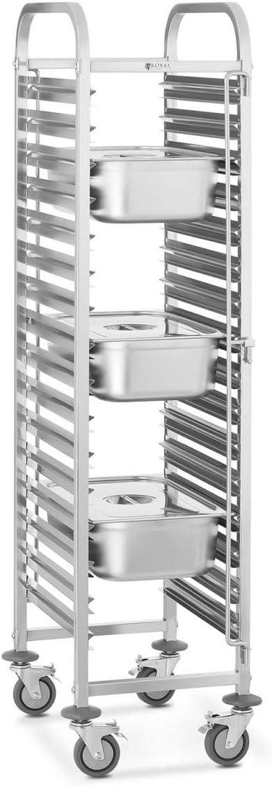 Royal Catering Carrello Porta Teglie Carrello di Servizio RCTW-15Z 15 vassoi, 150 kg, Acciaio Inox