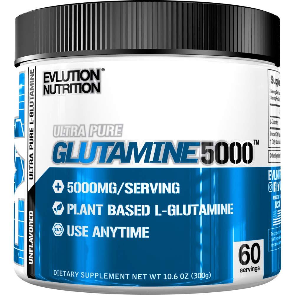 Evlution Nutrition L-Glutamine 5000, 5g Pure L Glutamine in Each Serving, Plant Based, Vegan, Gluten-Free, Unflavored Powder (60 Servings) by Evlution