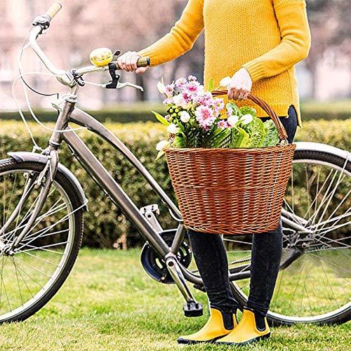 fijaci/ón en el Manillar de Bicicleta para ni/ños y Adultos Fablcrew Cesta para Bicicleta de Mimbre Cesta para Bicicleta de Mimbre Delantera