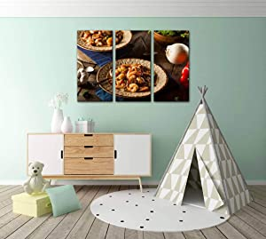 Gisas Enall Home Decoration Paintings 3 Panel Homemade Shrimp and Sausage Cajun Gumbo seafoods and Pictures Wall Art Framework Canvas Prints Artwork for Living Room Ready to Hang Framed Decorative