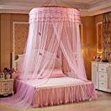 Guerbrilla Luxury Princess Pastoral Lace Bed Canopy Net Crib Luminous butterfly, Round Hoop Princess Girl Pastoral Lace Bed Canopy Mosquito Net Fit Crib Twin Full Queen Extra large Bed (pink)